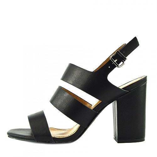 Donna Sandali Con Tacco Con Fibbia Tacco a Blocco Cinturino Alla Caviglia Sandali in vernice nera