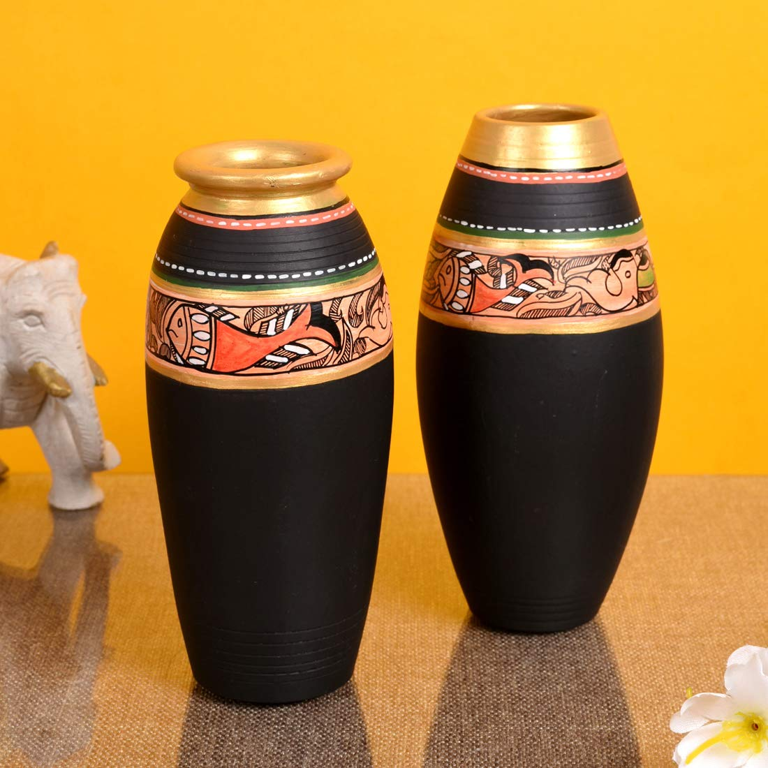 Buy Aakriti Art Creations Terracotta Flower Vase Pot 1 6 4 X 3 Inch Pot 2 6 4 X 3 Black Online At Low Prices In India Amazon In