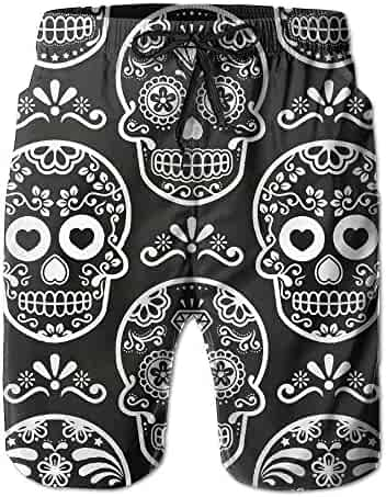cf63ea96dd SNM HILL Mens Quick Dry Beach Shorts Psychedelic Pot Leaf Skull Floral  Boardshorts Swim Surf Trunks