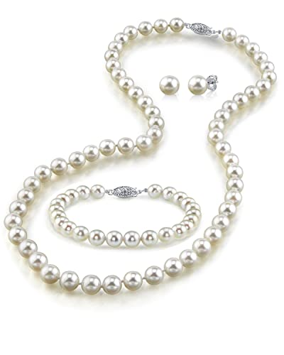 """14K Gold White Freshwater Cultured Pearl Necklace, Bracelet & Earrings Set, 18"""" - A..."""