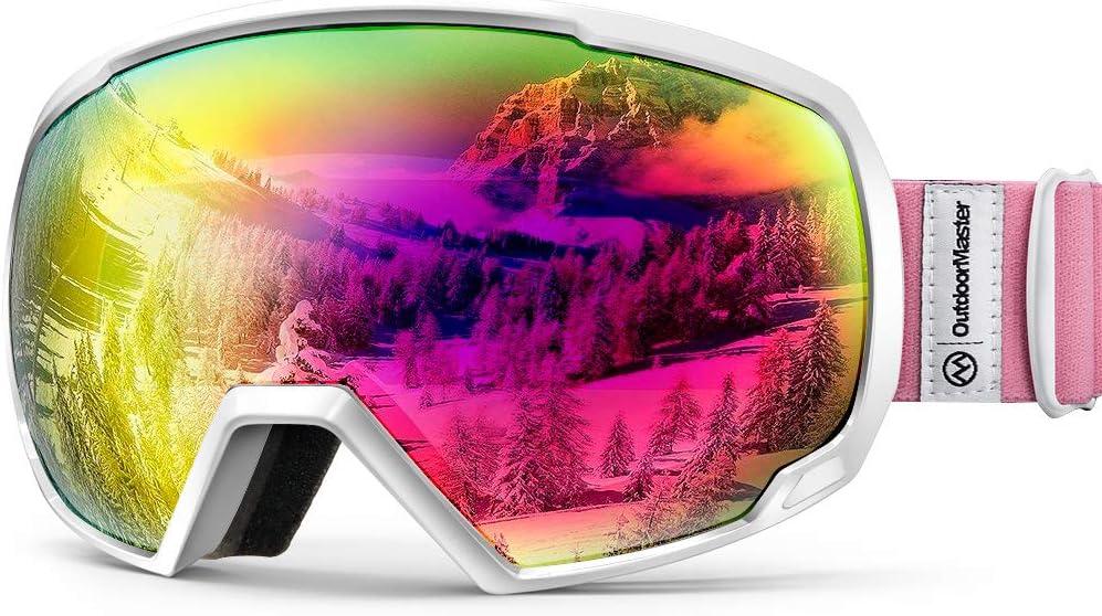 OutdoorMaster Gafas de Esquí OTG, Anti Niebla 100% Protección UV Máscara Gafas Esquí Snowboard, Desmontables Lentes Gafas Esqui de Esquiar para Hombre Mujer Adultos Juventud