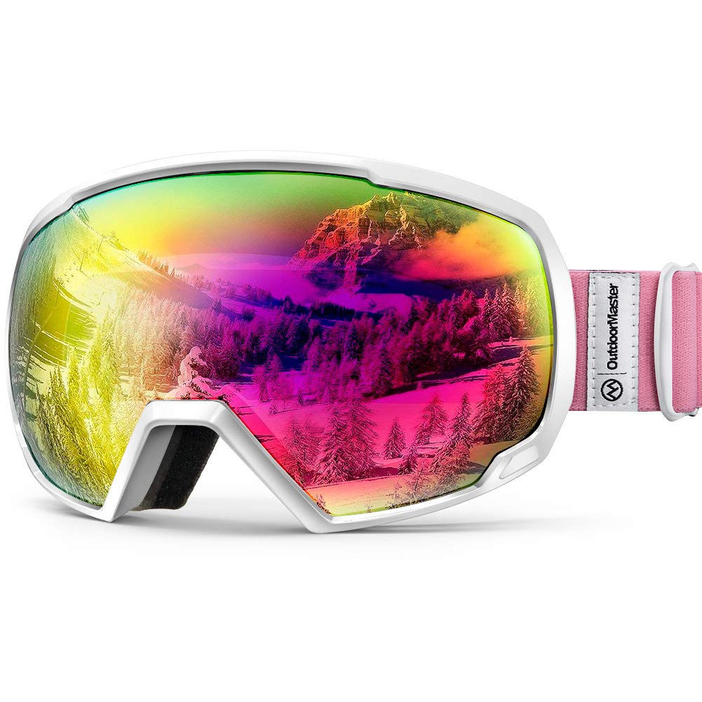 OutdoorMaster OTG Ski Goggles - Over Glasses Ski/Snowboard Goggles for Men, Women & Youth - 100% UV Protection (White Frame + VLT 13.6% Pink Lens) by OutdoorMaster