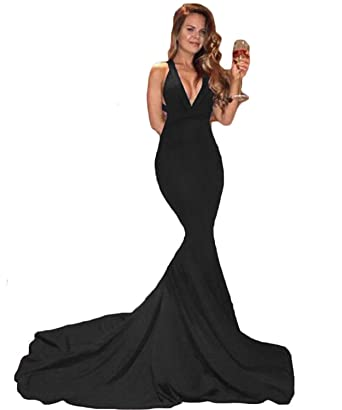 96df2d9ca7bb5 Sweet Bridal Women's Mermaid Evening Party V-Neckline Backless Prom Dress  Long