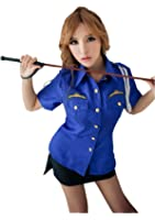 LINGERIECATS Sexy Blue Black 2pcs Verisimilitude Police Outfit Cosplay Costume Set, One Size