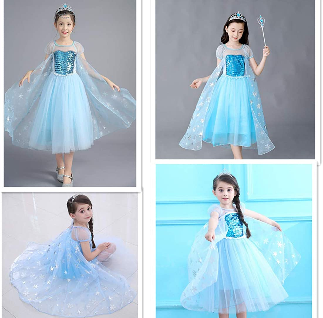 DXYtech Princess Costumes Sequins Dress Up Party Outfit for Toddler Girls Short Sleeve, 120//4T