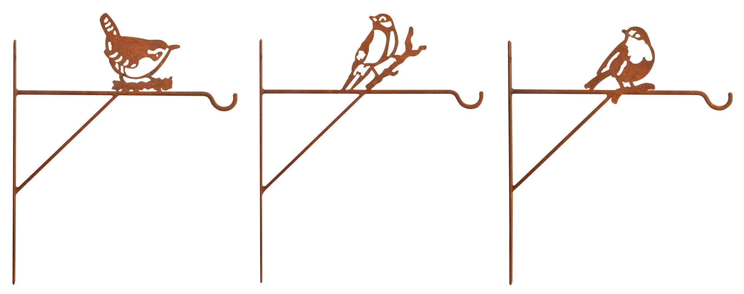 Esschert Design BPH65 Steel Plant Hangers Bird Assortment with Rusted Finish