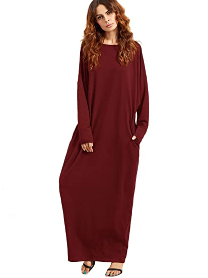 22f3c3318d0 Verdusa Women's Casual Long Sleeve Oversized Loose Pocket Plus Size Maxi  Dress Burgundy XS