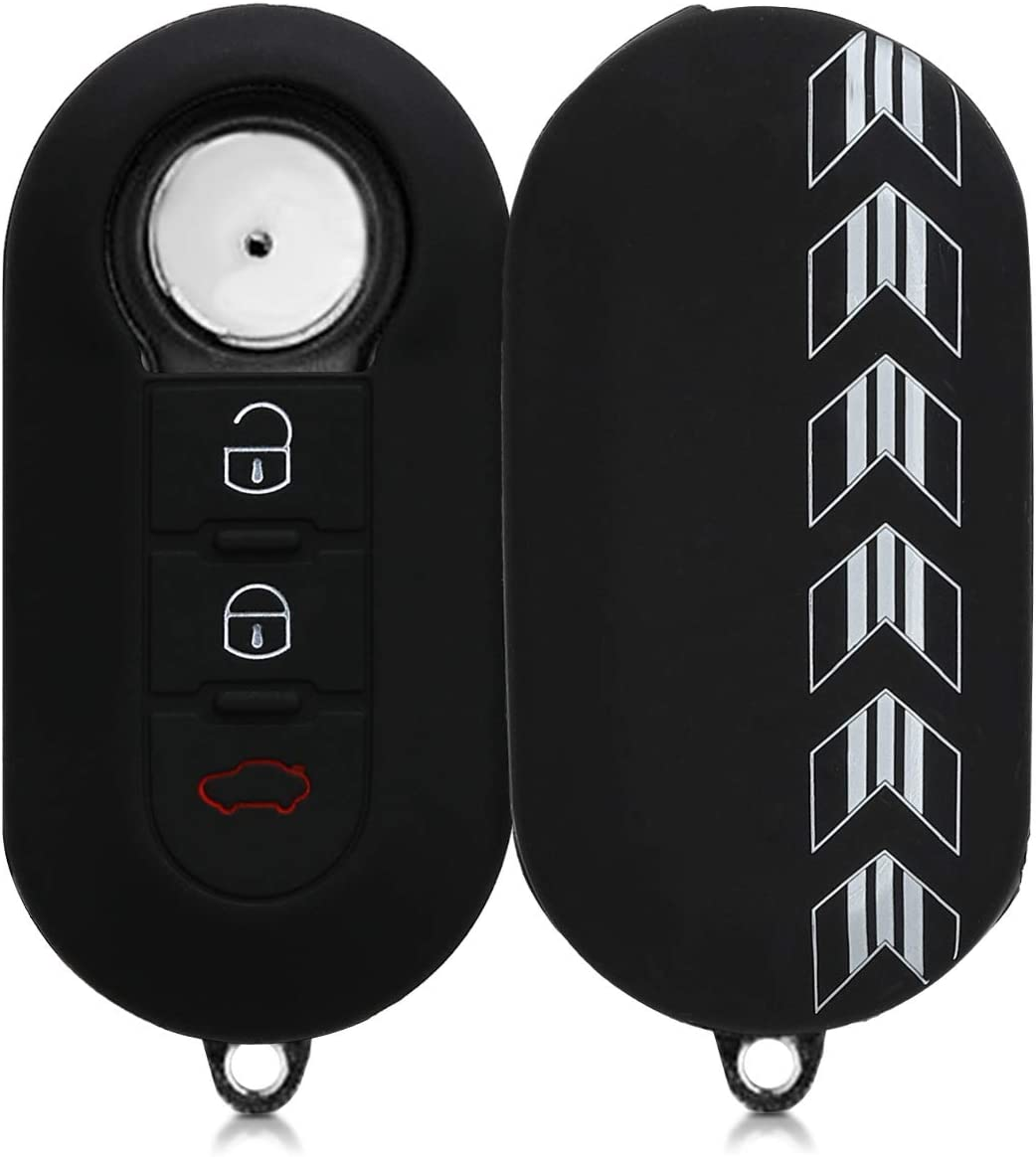 kwmobile Car Key Cover for Fiat Lancia Drive Me Crazy White//Black Silicone Protective Key Fob Cover for Fiat Lancia 3 Button Car Flip Key