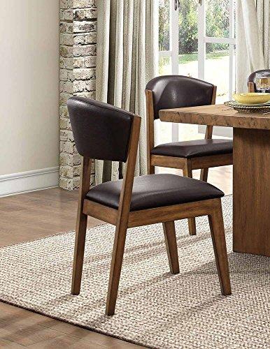 - Homelegance Hobson Modern Dining Chairs Bi-Cast Vinyl Cushioned Seat (Set of 2), Brown