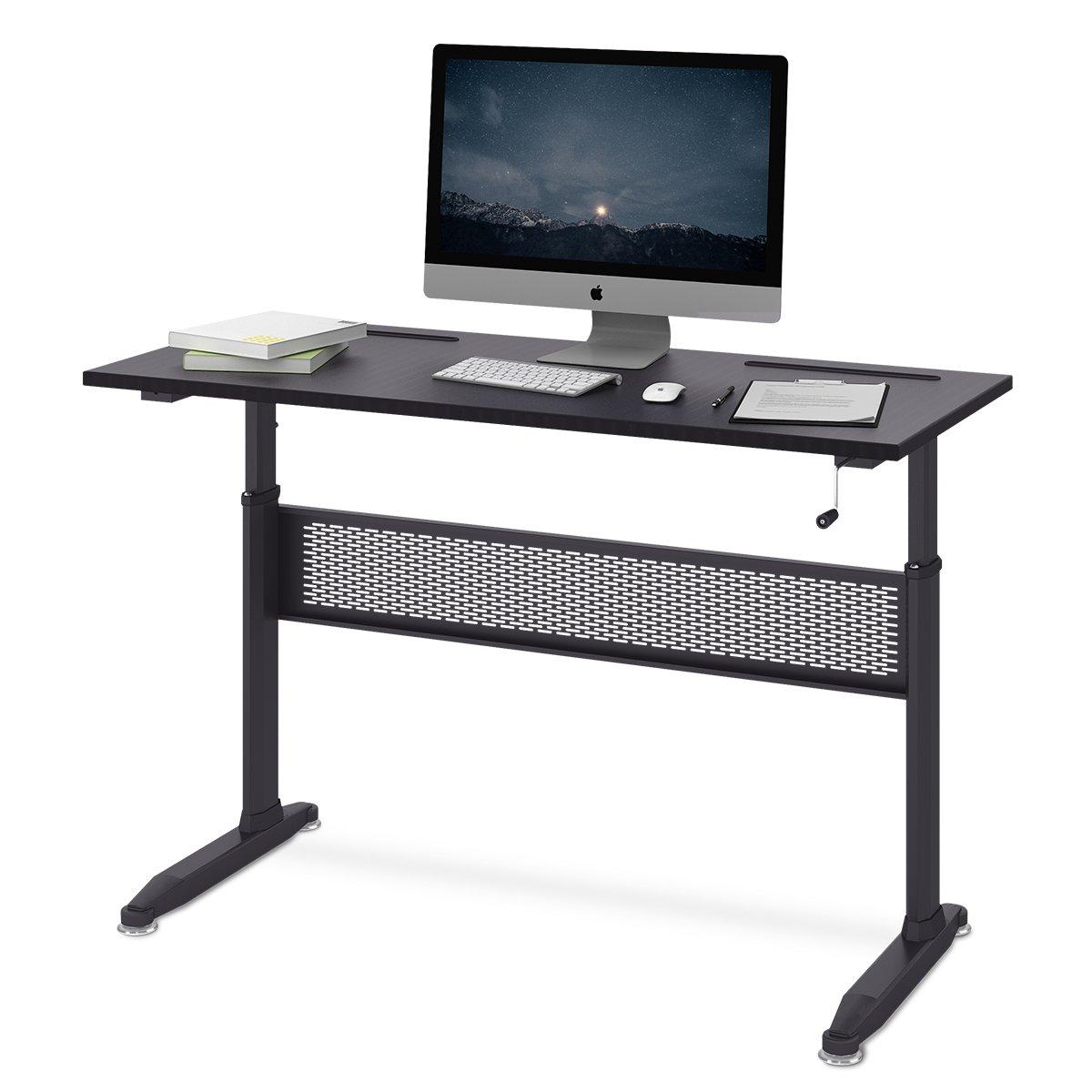 DEVAISE Adjustable Height Standing Desk 55 Inch with Front Crank Handle / Black