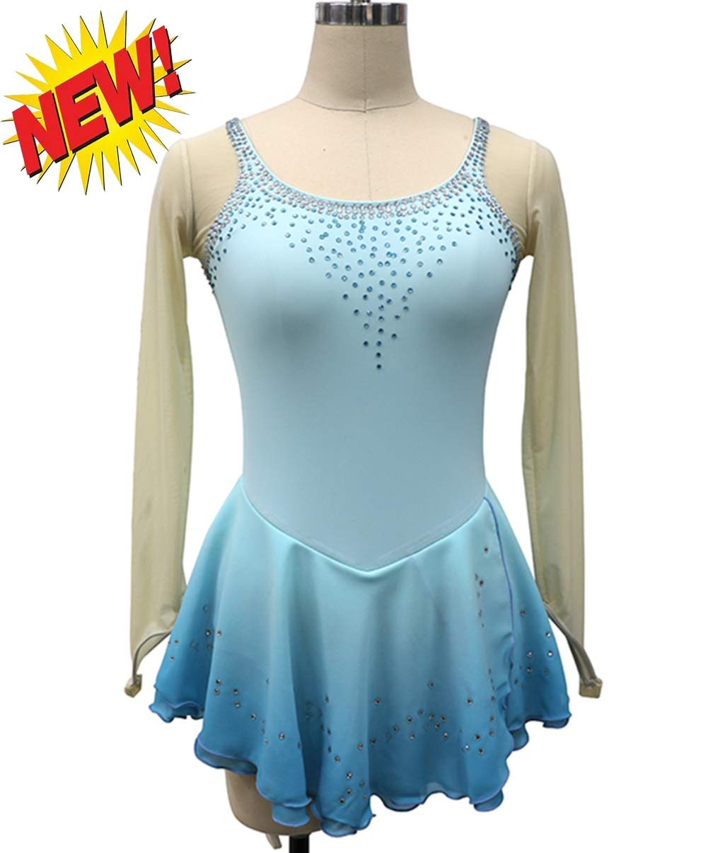 Abito body pattinaggio artistico bambina per ragazze e donne, Pattinaggio sul ghiaccio di esibizione di danza del ghiaccio Costume, maniche lunghe con cristalli di alta qualità Tunica, azzurro