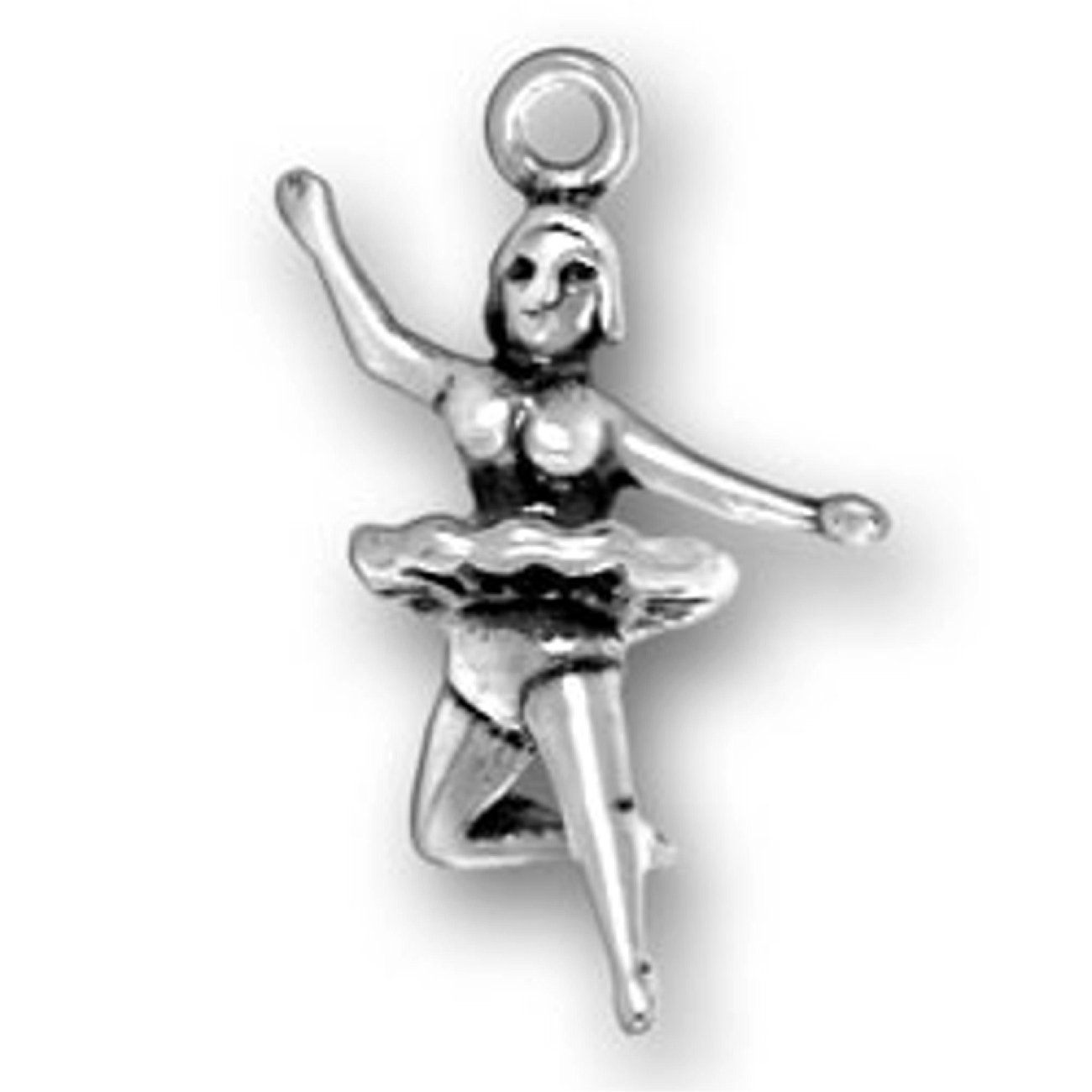 Sterling Silver Womens 1mm Box Chain Dancing Ballerina With Short Tutu Pendant Necklace