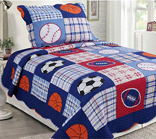 Golden Linens 2 Pieces Reversible Printed Kids Bedspread Sport American Football, Baseball and Basketball (01) ()