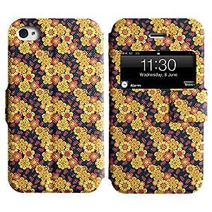 LEOCASE Flores Diagonales Funda Carcasa Cuero Tapa Case Para Apple iPhone 4 / 4S No.1000241