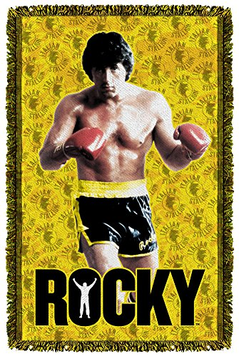 Rocky III Sports Boxing Movie Stallion Stance Woven Throw Blanket by Rocky