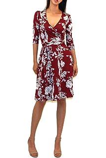 107435f327a Vivicastle Women s USA Printed V-Neck 3 4 Sleeve Faux Wrap Waist Tie Midi