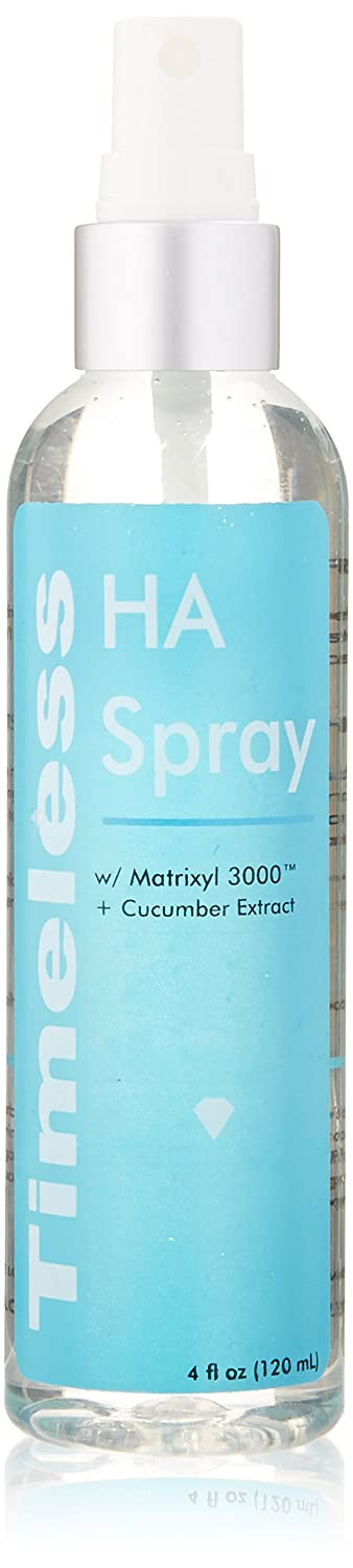 Timeless HA Spray: HYALURONIC Acid, MATRIXYL 3000 All-in-One Moisturizing Anti-Aging Refreshing Spray with Cucumber Extract 4 oz / 120 ml