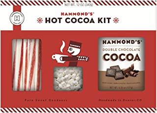 product image for Hammond's Candies - Hot Cocoa Kit - Gift Ready Kit Includes, Double Chocolate Cocoa Mix, Peppermint Stirrers and Mini Marshmallows, Makes Multiple Cups of Instant Hot Chocolate, Handcrafted in the USA