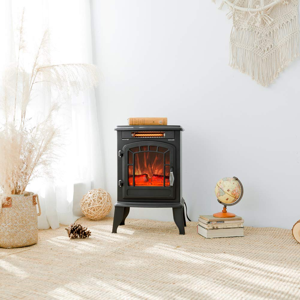FLAME&SHADE Electric Wood Stove Fireplace Heater - Freestanding