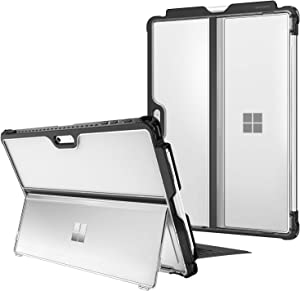 Fintie Hard Case for Microsoft Surface Pro 7/ Pro 6/ Pro 5/ Pro LTE, Shockproof Folio Protective Rugged Cover Compatible with Type Cover Keyboard + Original Kickstand (Frost Clear)