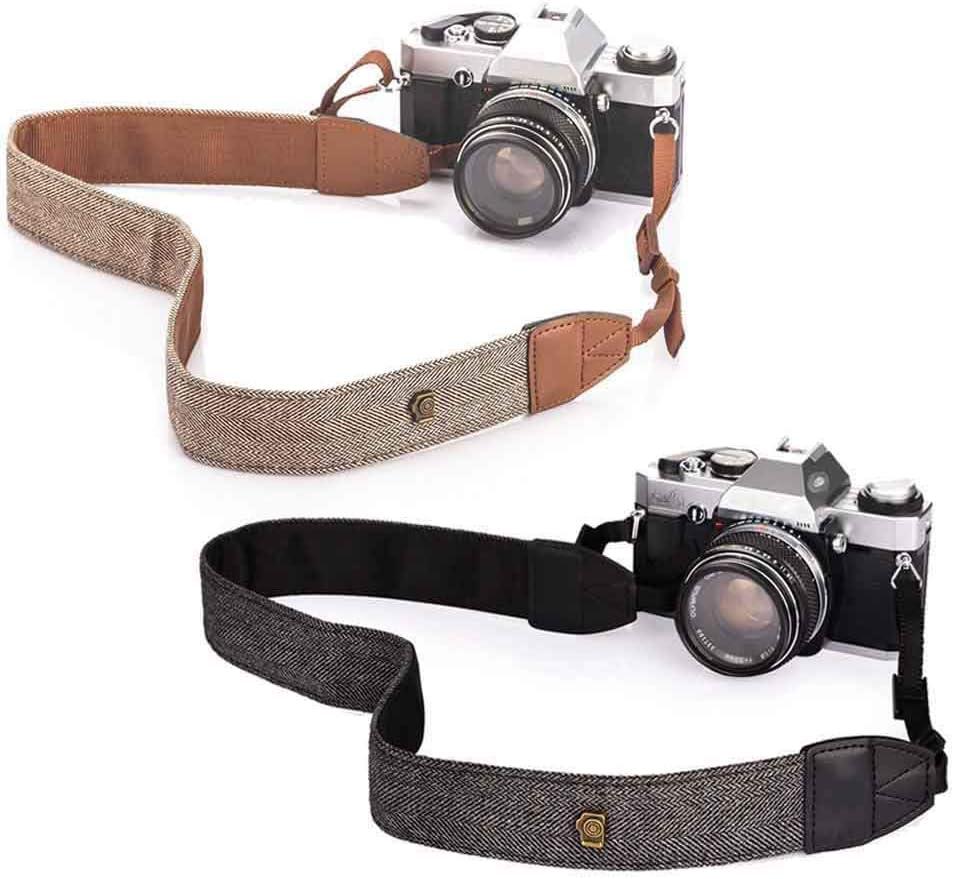 Vizemo Camera Soft Shoulder Neck Strap with Free Quick Release Buckles Universal Camcorder Belt Strap Vintage Antislip Strap for Women Men All DSLR SLR Cameras (2 Pieces,Brown+Black)