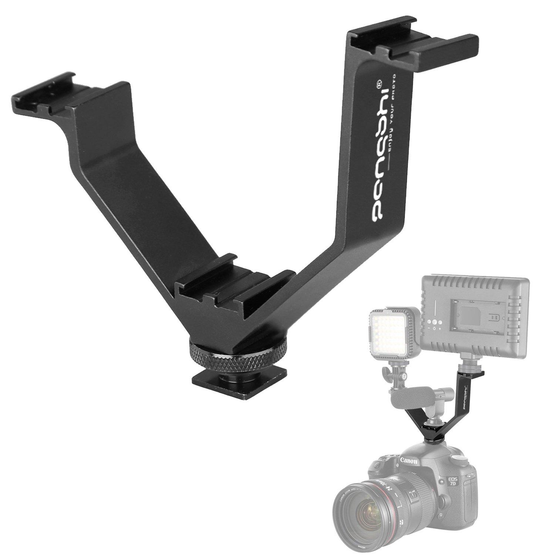 V-Shape Bracket Triple 3 Hot Shoe Mount Compatible with Nikon Canon DSLR Camera or Camcorder LED Video Light Microphone Monitor (5''/12.5cm)