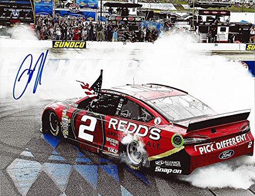 """'AUTOGRAPHED 2014 Brad Keselowski #2 REDD""""S Apple Ale Racing (New Hampshire Win) BURNOUT 9X11 Signed NASCAR Glossy Photo with COA'"""