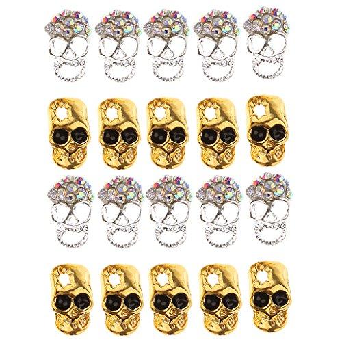 Dovewill 20pcs Fashion Alloy Skull Glitter Rhinestones Halloween Nail Art Tips Decorations Jewelry DIY Silver and Gold -
