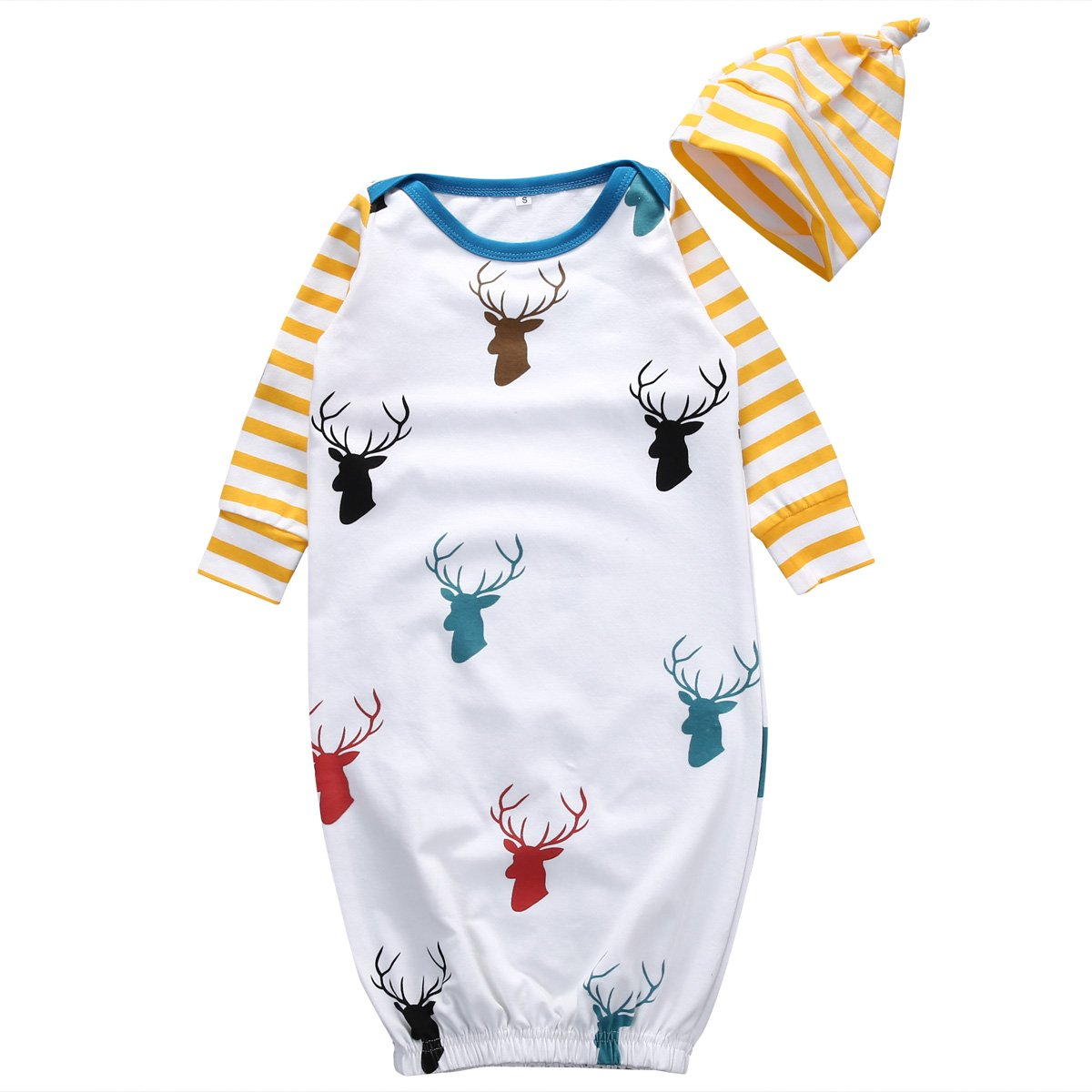 Newborn Sleep Gown Swaddle Infant Baby Nightgowns+Beanie Hat Sleepwear Set Coming Home Wear 6-12 Months, Deer