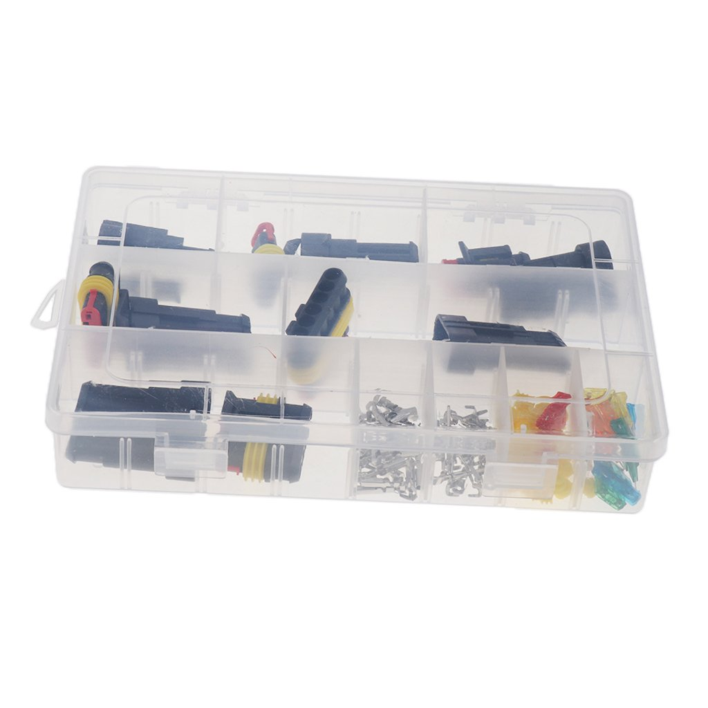 Baosity Car Motorcycle Electrical Wire Connector Terminal 1-6Pin & Fuse Assortment
