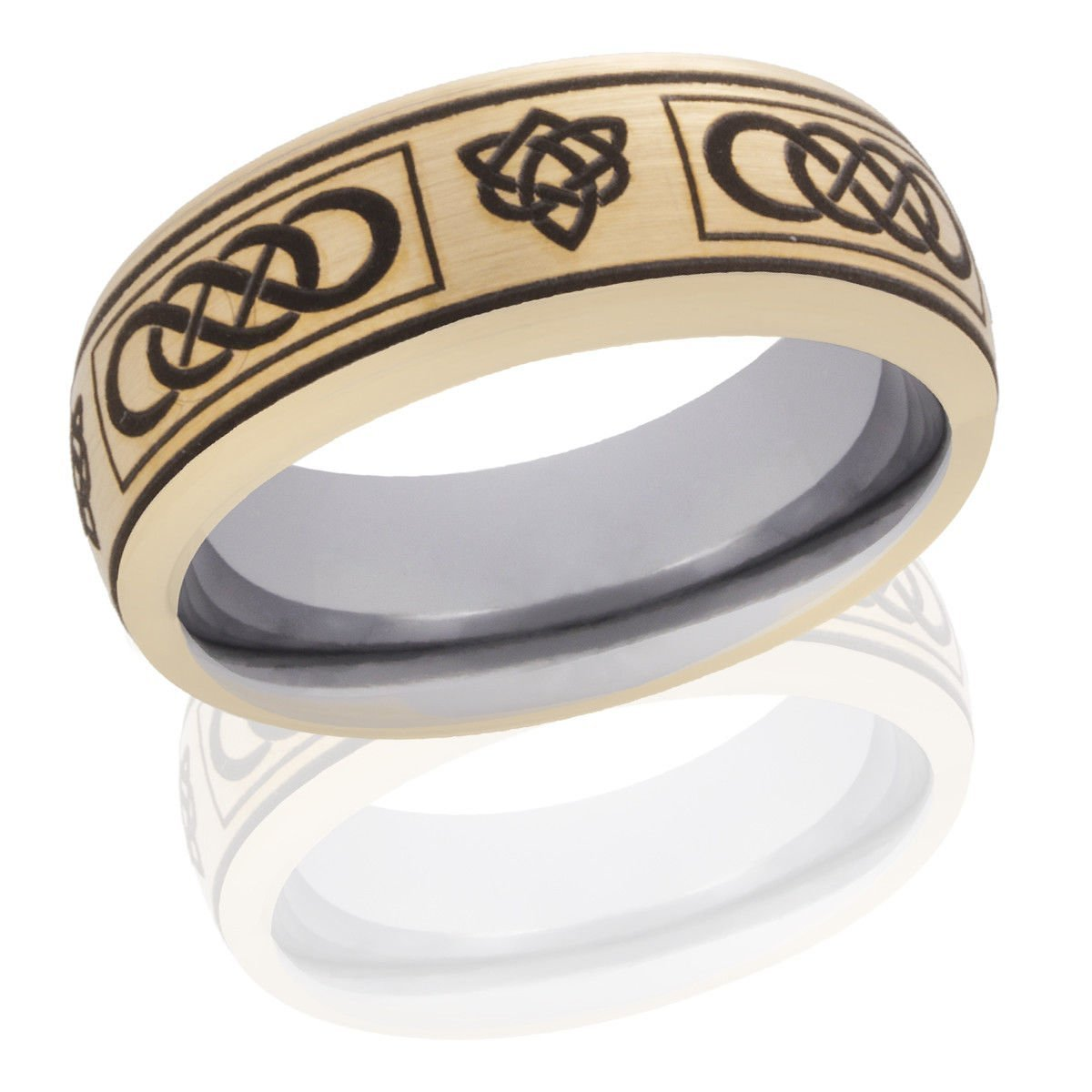 Tungsten Ring Double Infinity Celtic Trinity Yellow Gold Silver 8mm Hand Made With Free Box