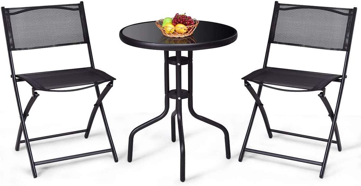 S AFSTAR 3-Piece Bistro Set for Outdoor Yard Garden Park, Round Table with 2 Folding Chairs Patio Furniture Set (Classic Black)