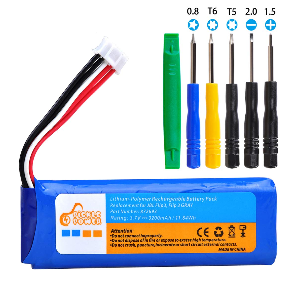 3200mAh Battery Bateria GSP872693 for JBL Flip 3 Flip 3 Gray GSP872693 P763098 03 with Install Tools (3.7V, 11.84Wh)