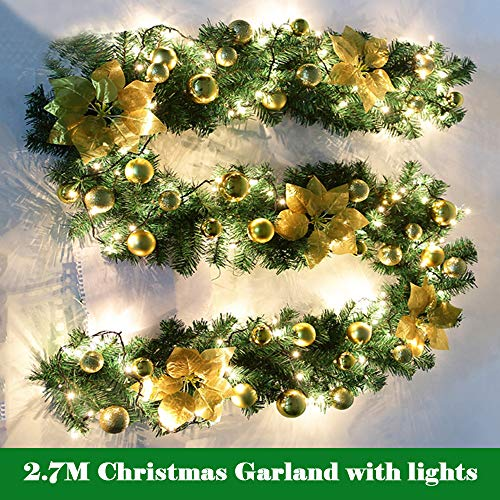BullStar 9 Feet Christmas Decorations Christmas Garland with Lights Artificial Wreath with Berries and Pinecones Xmas Decorations for Mantle Stairs Wall Door (1 Pack, (Gold Pine Wreaths)