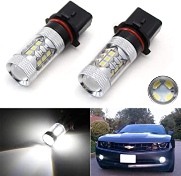 iJDMTOY Xenon White 15-SMD High Power P13W 12277 LED Light Bulbs For Daytime Running Lamps DRL or Fog Driving Lights