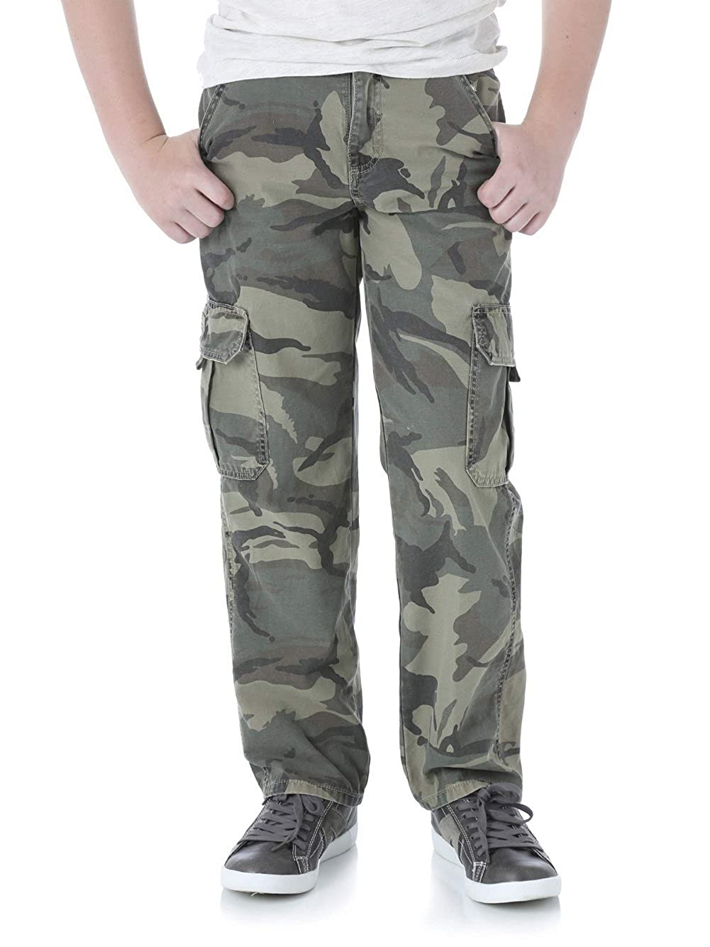 8ff09f25 Popular boys camo cargo jeans in classic twill. These casual boys camo  cargo pants by Wrangler are made from 100% cotton. Wranglers fashionable  cargo pants ...