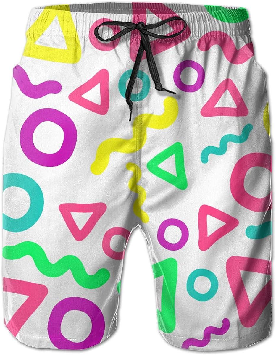ZHANGEN 90s Funky Pattern Beach Board Shorts Mens Beach Shorts Swim Trunks Swimsuit Athletic Shorts