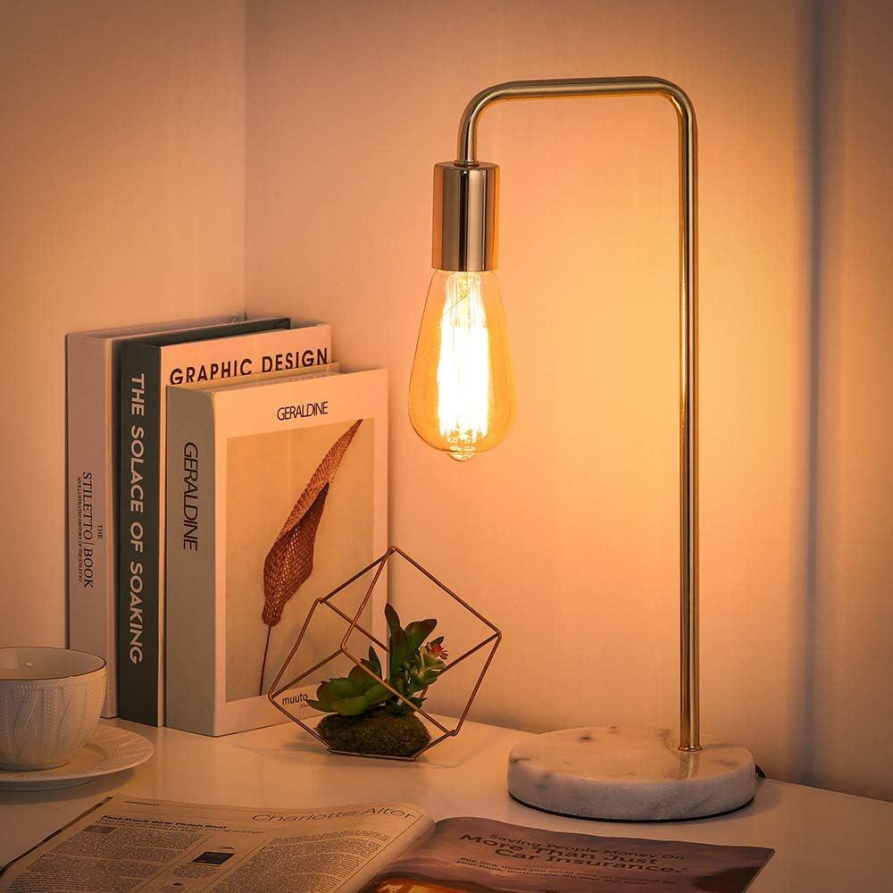Bedside Table Lamp Black Living Room with Marble Base Industrial Lamp for Bedroom Office HAITRAL Modern Desk Lamp