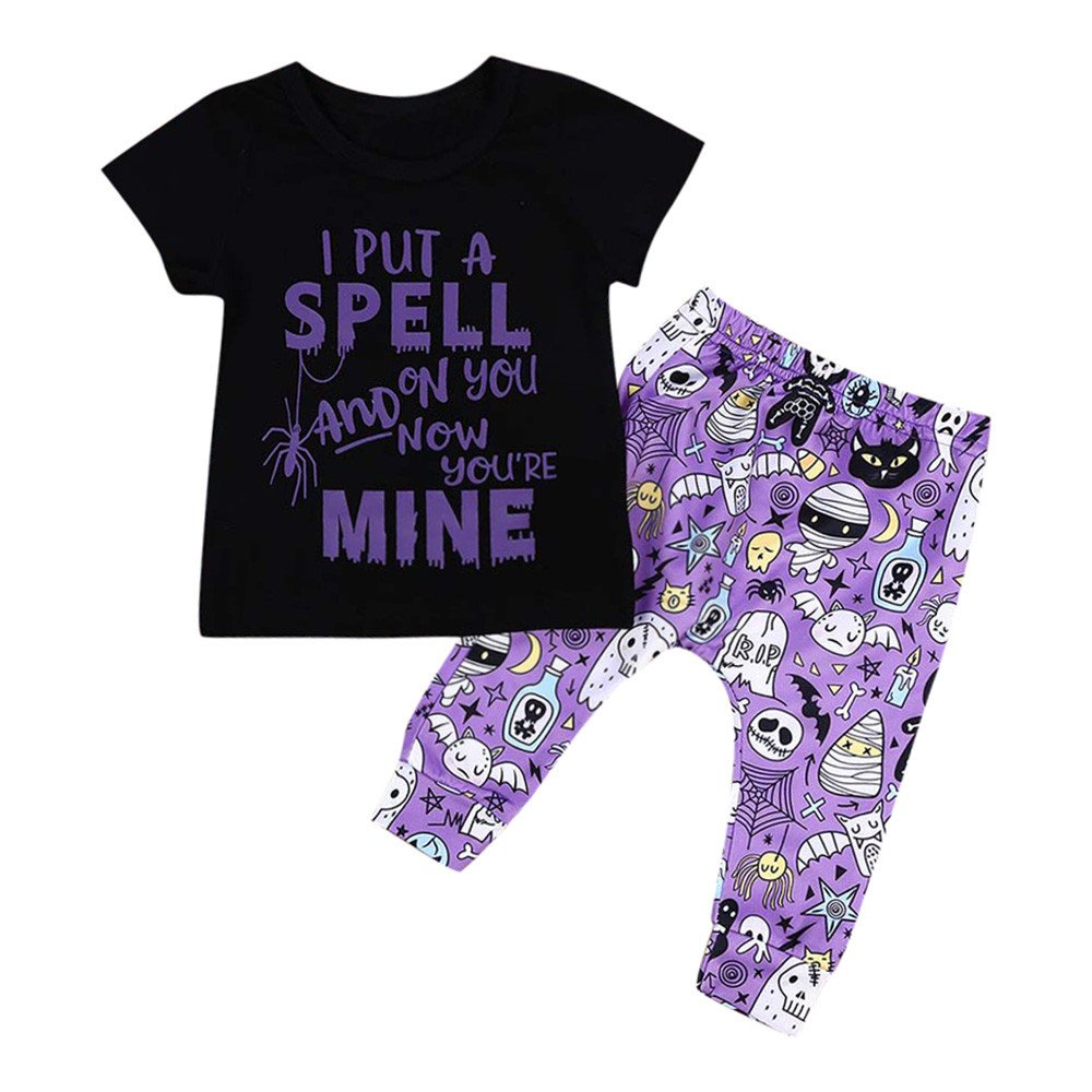 Girls Clothing Sets, SHOBDW Infant Baby Kids Boys Halloween Party Clothes Letter Print Short Sleeve Tops + Pants Summer Outfits SHOBDW-05