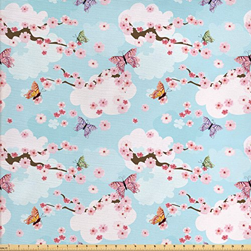 Ambesonne Cherry Blossom Fabric by The Yard, Fantasy Composition with Spring Inspired Nature Elements Butterflies Clouds, Decorative Fabric for Upholstery and Home Accents, Multicolor