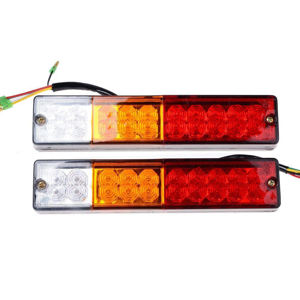 20 LED Trailer Tail Lights-Glamouric Brake Rear Lights Turn Signal Reverse Lamp 3W IP65 Waterproof RV Stop taillights Red-Amber-White for Cars Trucks (Pack of 2)