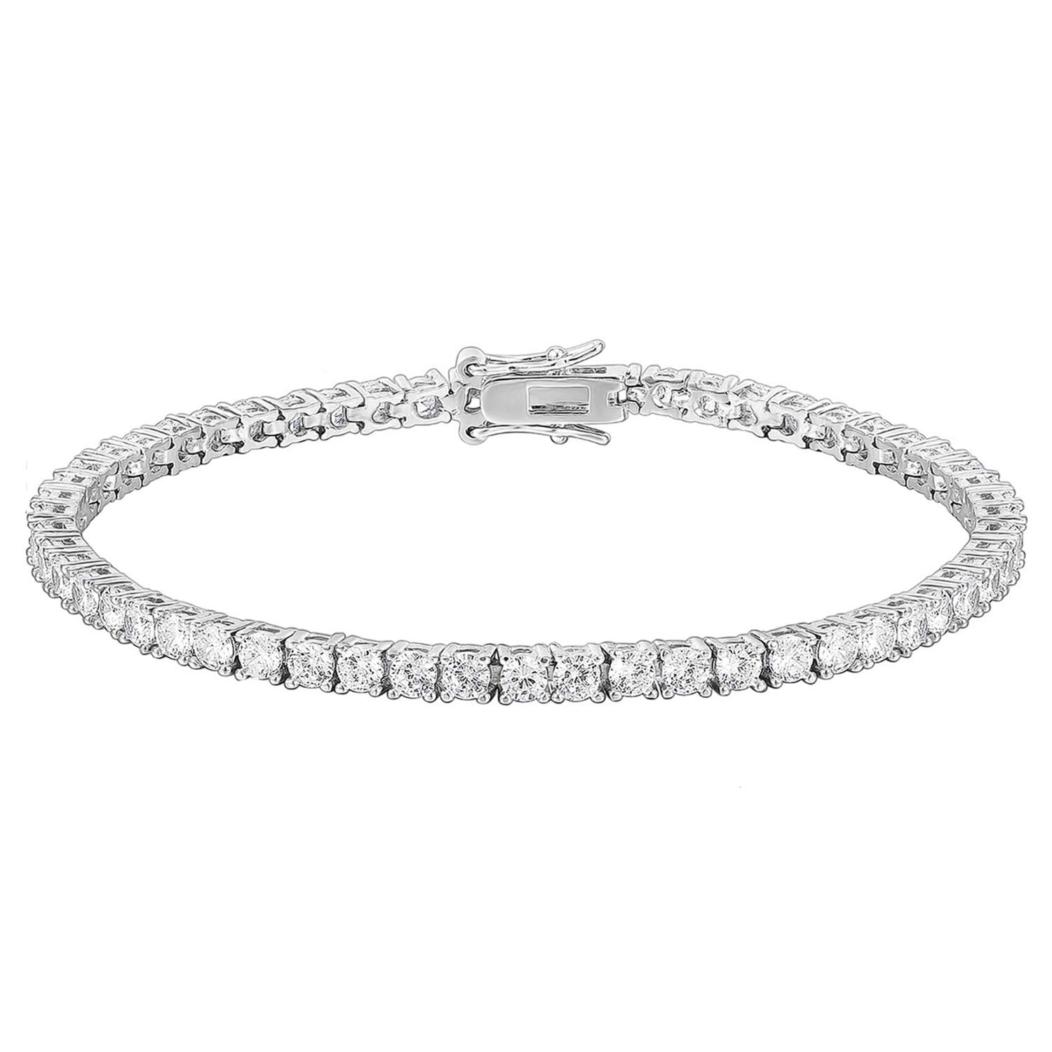 PAVOI 14K Gold Plated Cubic Zirconia Classic Tennis Bracelet | White Gold Bracelets for Women | 6.5 Inches by PAVOI
