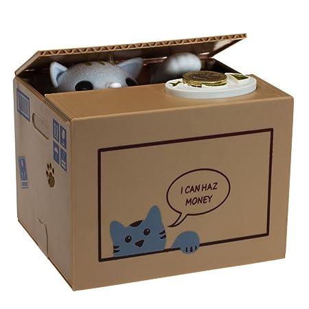 Amazonde Getdigital 10973 Katzenspardose Katze In Der Box Geschenk