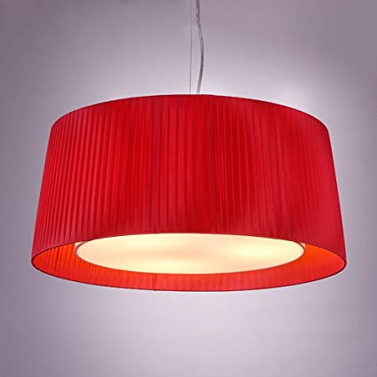 XHOPOS HOME Pendant Light Shade Industrial Hanging Ceiling Lamp Chandelier  Fabrics Red 60X26cm For Living Room