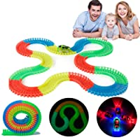 HJHY 222 pezzi Racetrack Track Toy per bambini regalo con 2 x Cars inclusi - Easy Bend, Flex e Glow in Dark (222 Pieces)