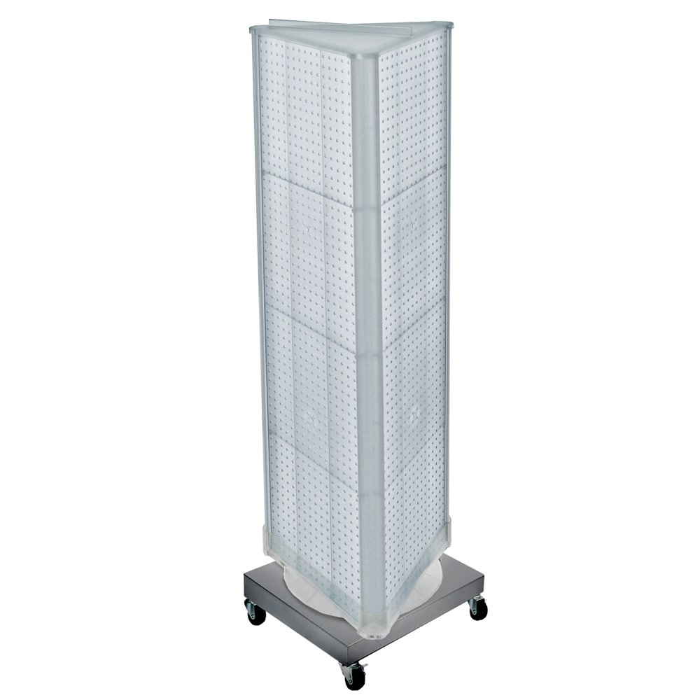 Clear 3 Sided Revolving Pegboard Tower Floor Display Metal Base 16''W x 60''H