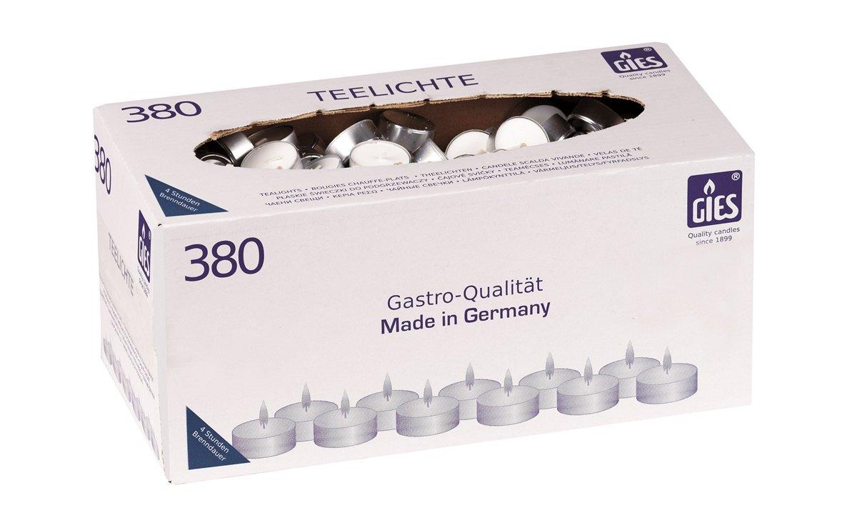 Gies 205-419001-10 - Candele tealight, diametro 38 mm, portalumino metallico, confezione da 380 pezzi, colore: bianco
