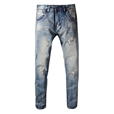 YiLianDa Jeans Slim Fit Look Usé Homme Biker Stretch Pantalon Denim ... 72c7b3a73576