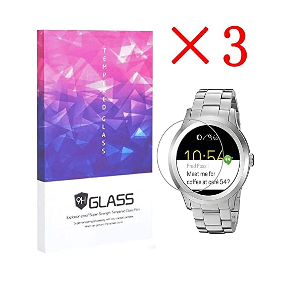 Fossil Q Founder Gen 1 Smartwatch Screen Protector Crystal Clear 9H 2.5D Tempered Glass Screen Protector Foils,Anti-Fingerprint,Anti-Glare,bubble-free ...