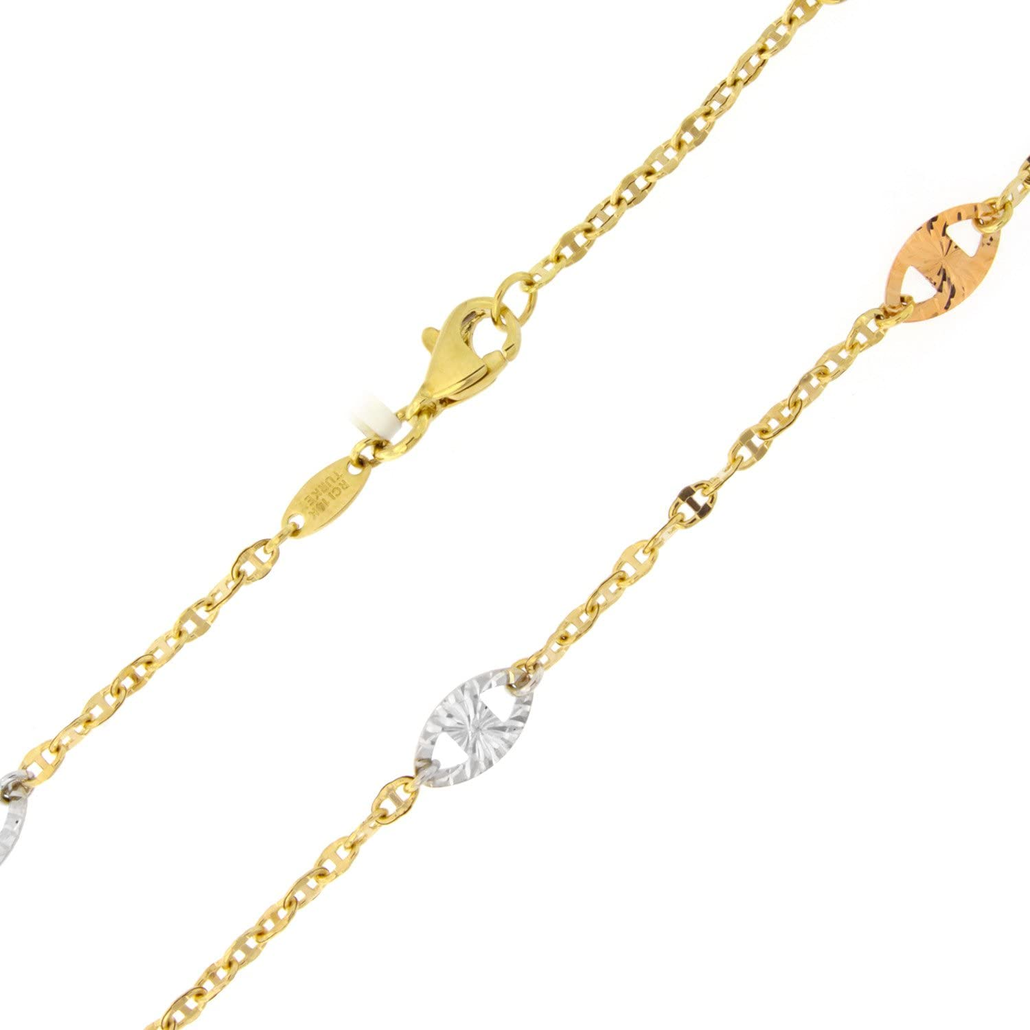 Heart link Chain Anklet Ankle Bracelet Real 14K Yellow White Rose TriColor Gold